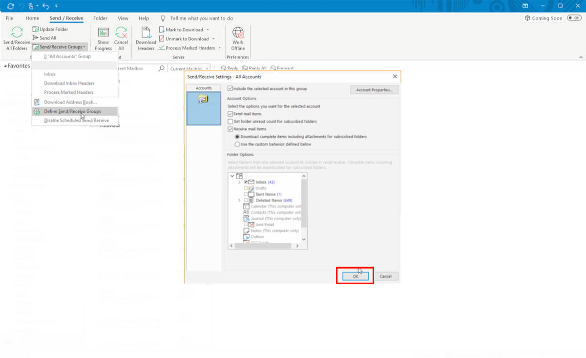 Outlook Slow Sync Step 6