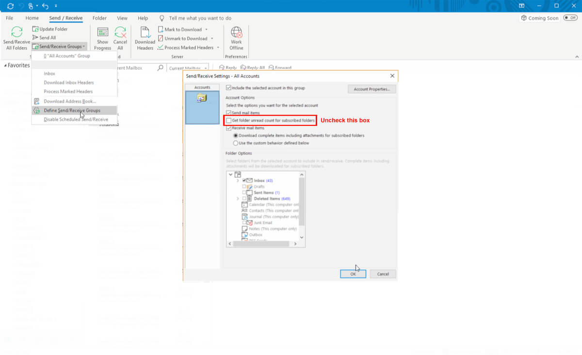Outlook Slow Sync Step 5