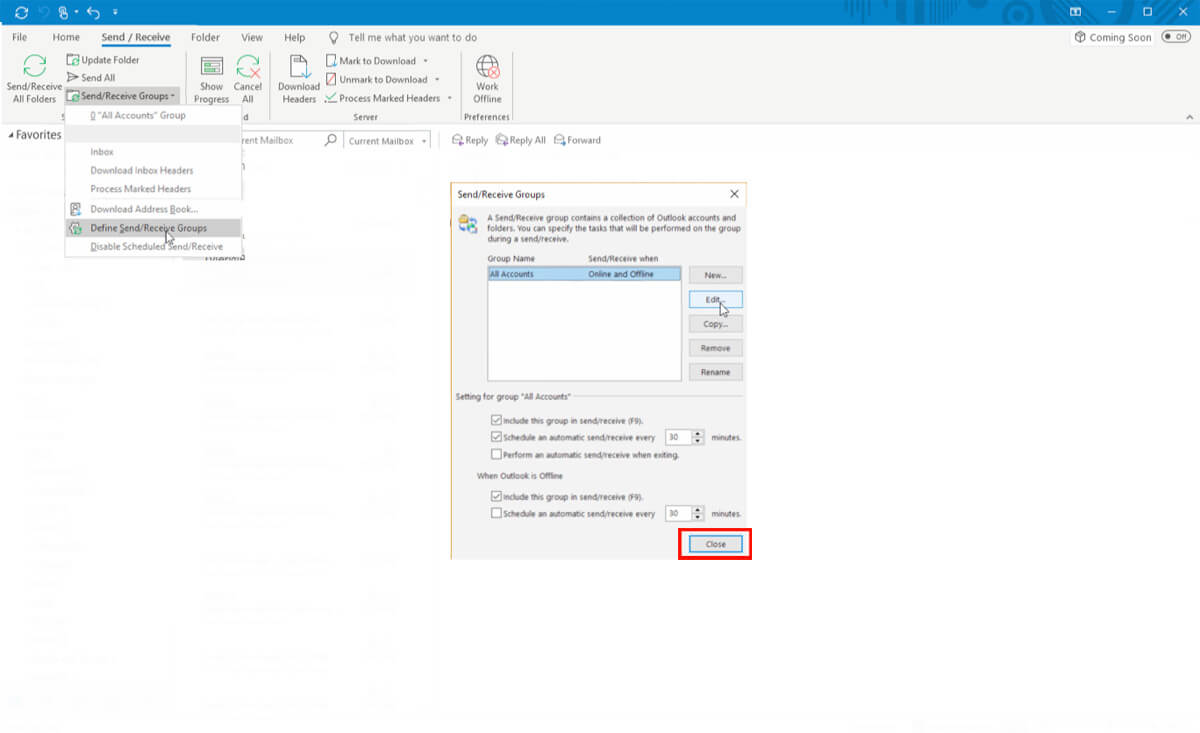 Outlook Slow Sync Step 7